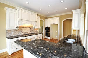 Black Granite kitchen white cabinets - OH OH