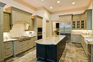 Granite kitchen green cabinets - Ohio Ohio