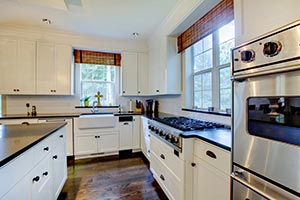 black granite white cabinets Granite kitchen - OH OH